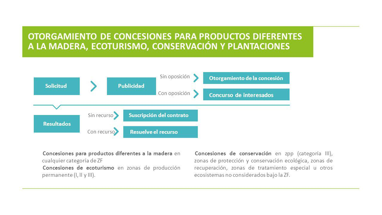 OTORGAMIENTO DE CONCESIONES PARA PRODUCTOS DIFERENTES A LA MADERA, ECOTURISMO, CONSERVACIÓN Y PLANTACIONES