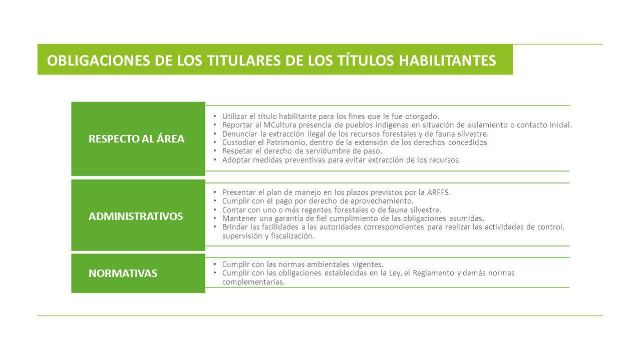 OBLIGACIONES DE LOS TITULARES DE LOS TÍTULOS HABILITANTES