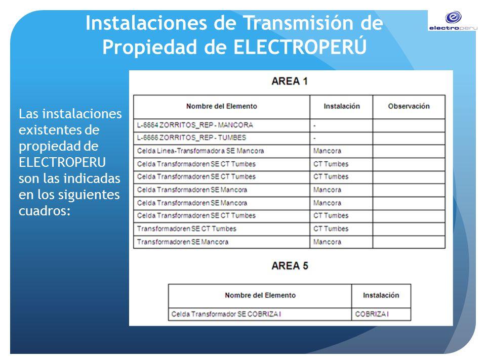Instalaciones de Transmisión de Propiedad de ELECTROPERÚ