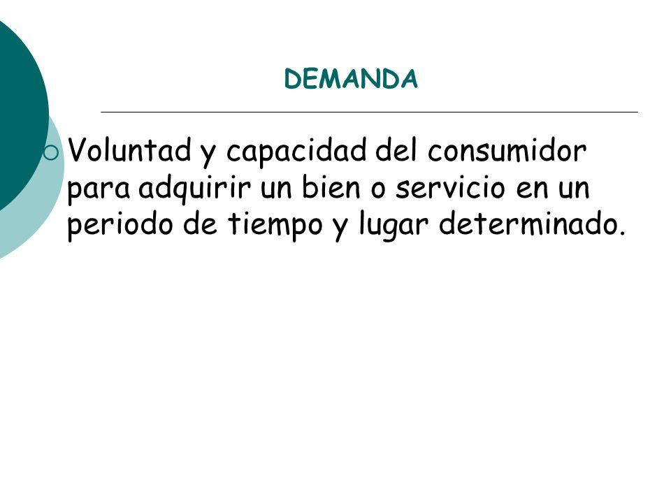 DEMANDAVoluntad y capacidad del consumidor para adquirir un bien o servicio en un periodo de tiempo y lugar determinado.