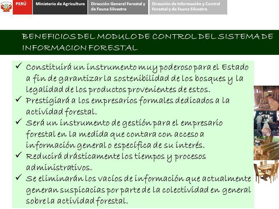 BENEFICIOS DEL MODULO DE CONTROL DEL SISTEMA DE INFORMACION FORESTAL