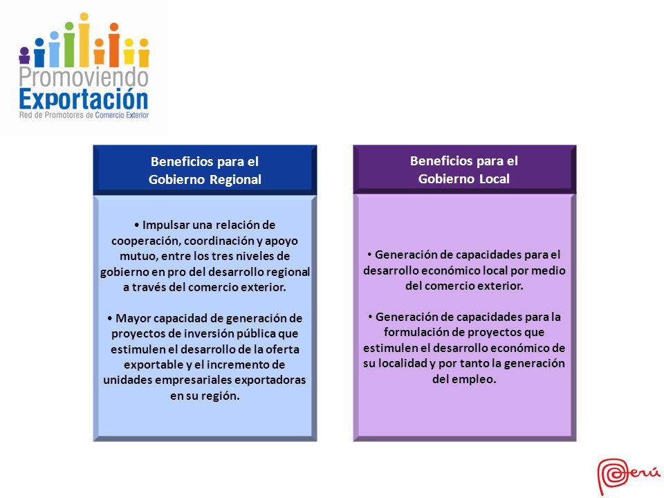 Beneficios para el Gobierno Regional Beneficios para el Gobierno Local