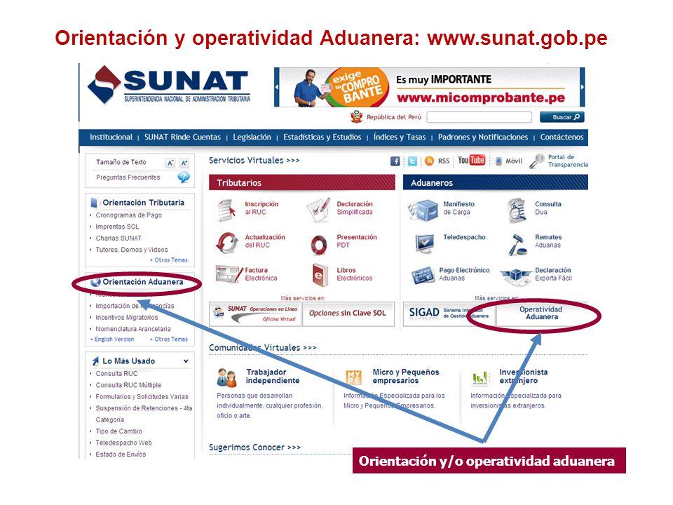 Orientación y operatividad Aduanera: www.sunat.gob.pe