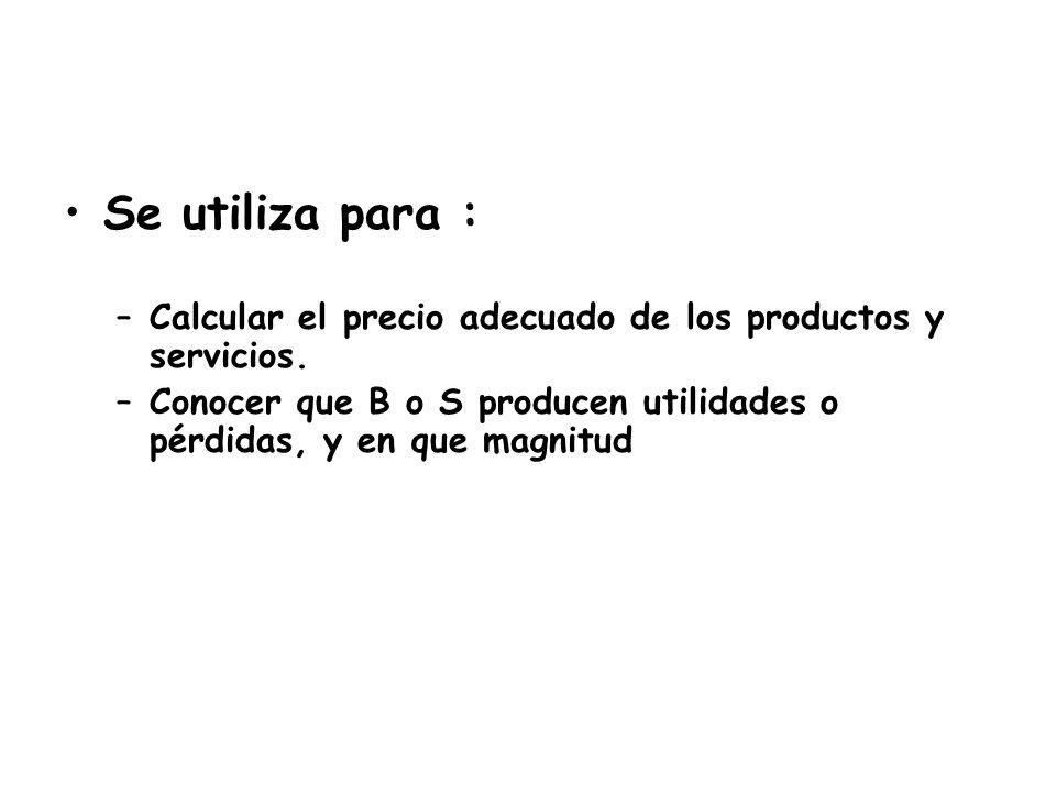 Se utiliza para : Calcular el precio adecuado de los productos y servicios.