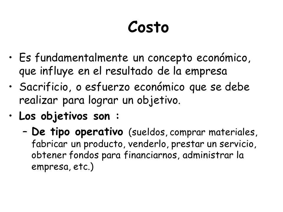 Costo Es fundamentalmente un concepto económico, que influye en el resultado de la empresa.