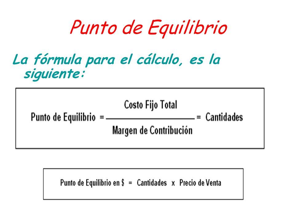 Punto de Equilibrio La fórmula para el cálculo, es la siguiente: