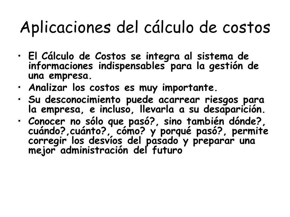 Aplicaciones del cálculo de costos