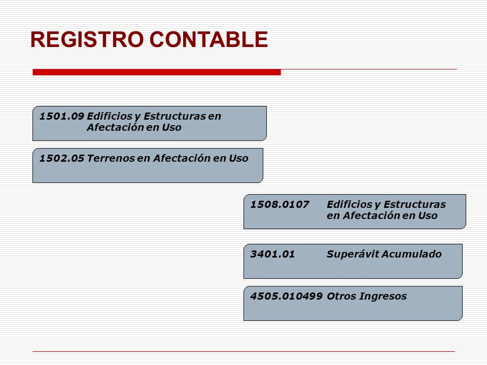REGISTRO CONTABLE 1501.09 Edificios y Estructuras en Afectación en Uso