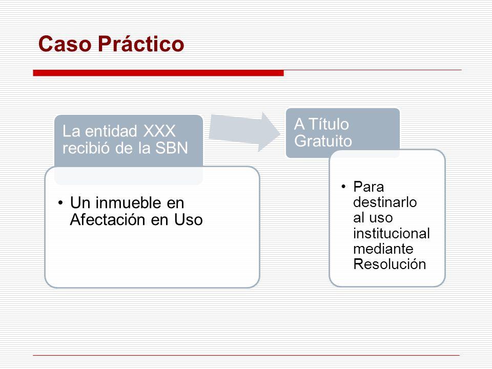Caso Práctico La entidad XXX recibió de la SBN