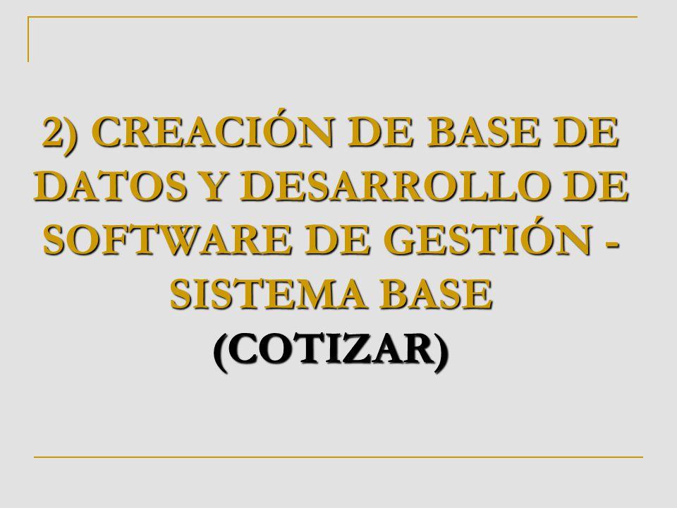 2) CREACIÓN DE BASE DE DATOS Y DESARROLLO DE SOFTWARE DE GESTIÓN - SISTEMA BASE (COTIZAR)