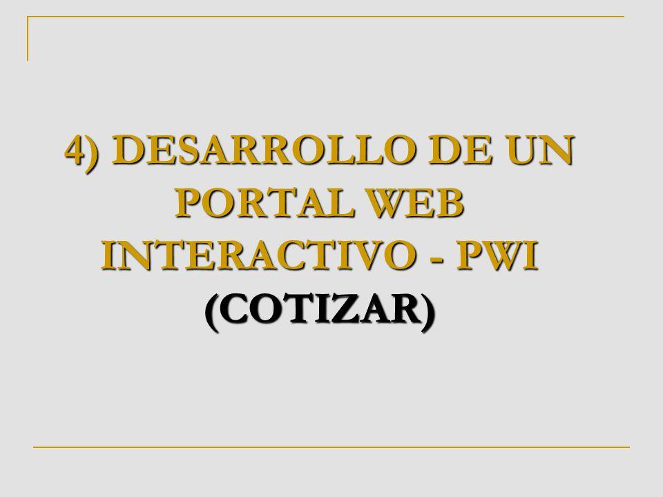 4) DESARROLLO DE UN PORTAL WEB INTERACTIVO - PWI (COTIZAR)