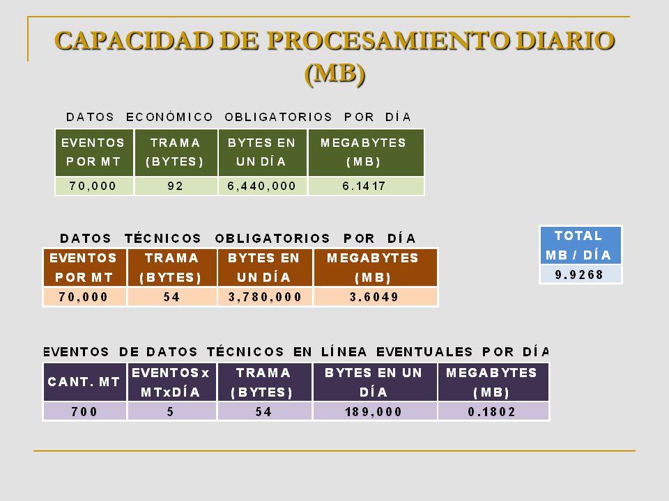CAPACIDAD DE PROCESAMIENTO DIARIO (MB)