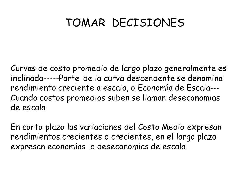 TOMAR DECISIONES Curvas de costo promedio de largo plazo generalmente es.