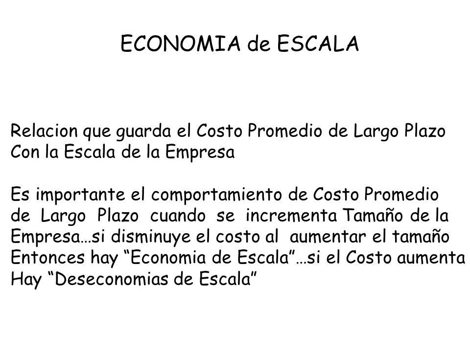ECONOMIA de ESCALA Relacion que guarda el Costo Promedio de Largo Plazo. Con la Escala de la Empresa.