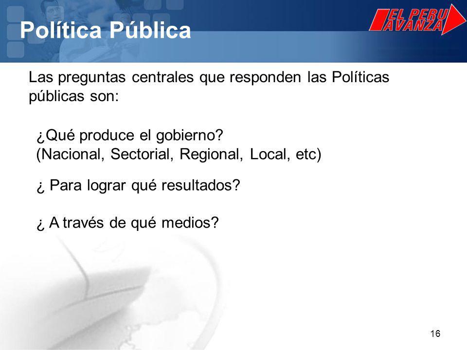 Política Pública Las preguntas centrales que responden las Políticas públicas son: ¿Qué produce el gobierno