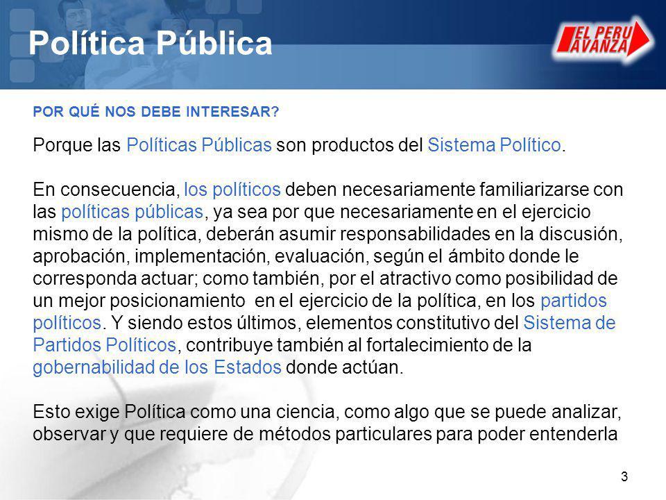 Política Pública POR QUÉ NOS DEBE INTERESAR Porque las Políticas Públicas son productos del Sistema Político.