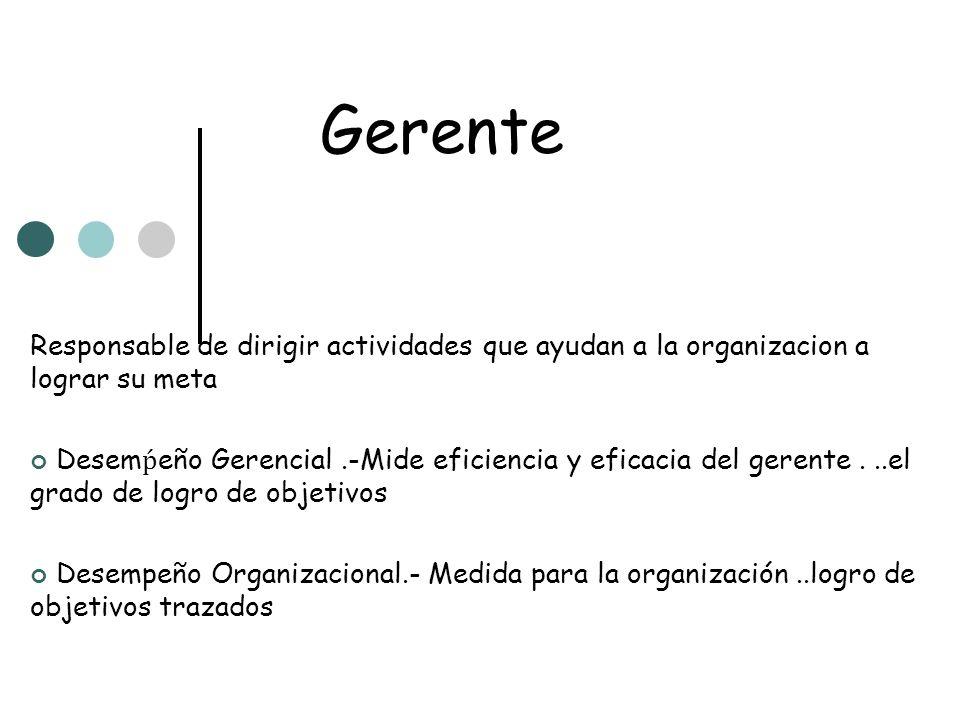 Gerente Responsable de dirigir actividades que ayudan a la organizacion a lograr su meta.