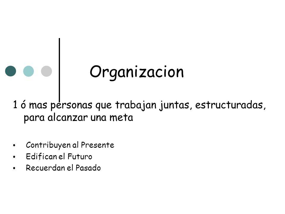 Organizacion 1 ó mas personas que trabajan juntas, estructuradas, para alcanzar una meta. Contribuyen al Presente.