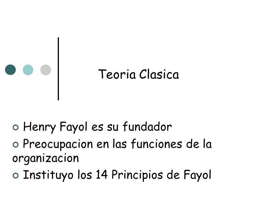 Teoria Clasica Henry Fayol es su fundador