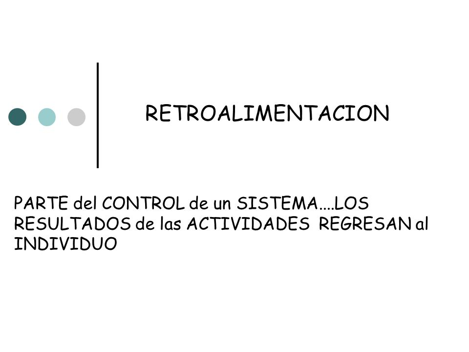 RETROALIMENTACIONPARTE del CONTROL de un SISTEMA....LOS RESULTADOS de las ACTIVIDADES REGRESAN al INDIVIDUO.