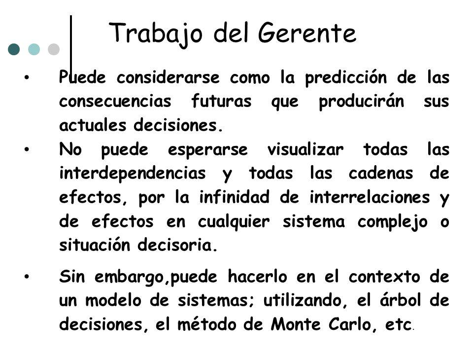 Trabajo del GerentePuede considerarse como la predicción de las consecuencias futuras que producirán sus actuales decisiones.