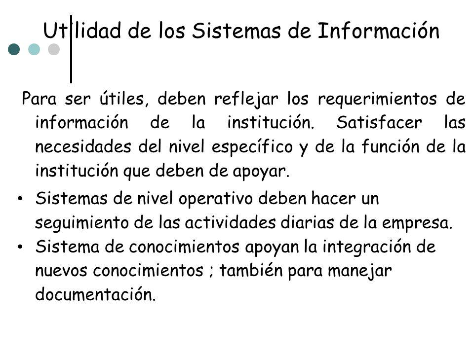 Utilidad de los Sistemas de Información