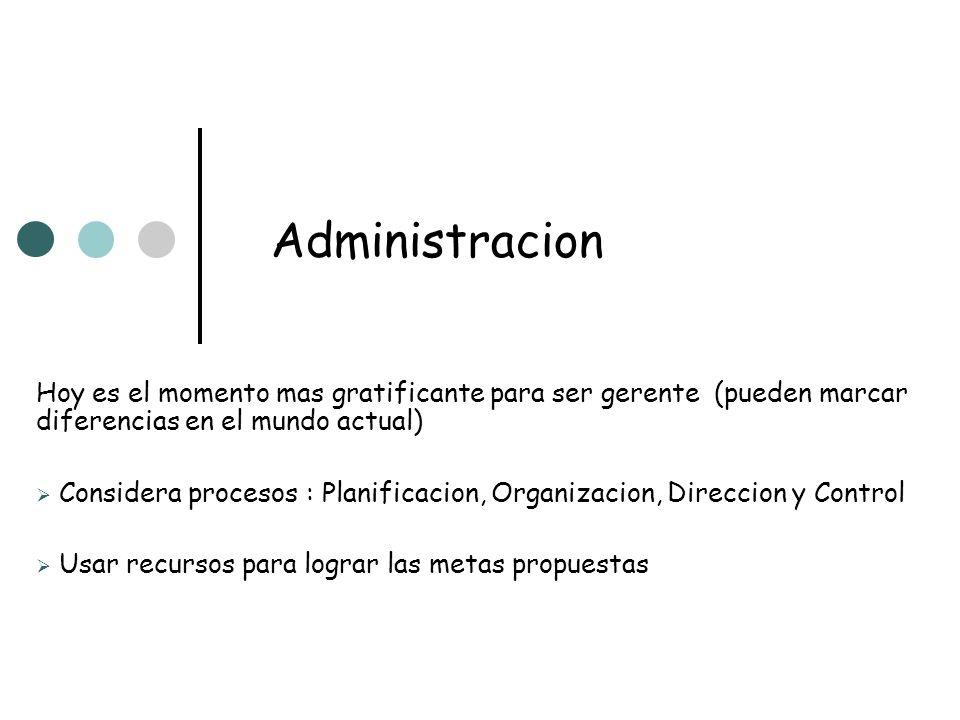 Administracion Hoy es el momento mas gratificante para ser gerente (pueden marcar diferencias en el mundo actual)