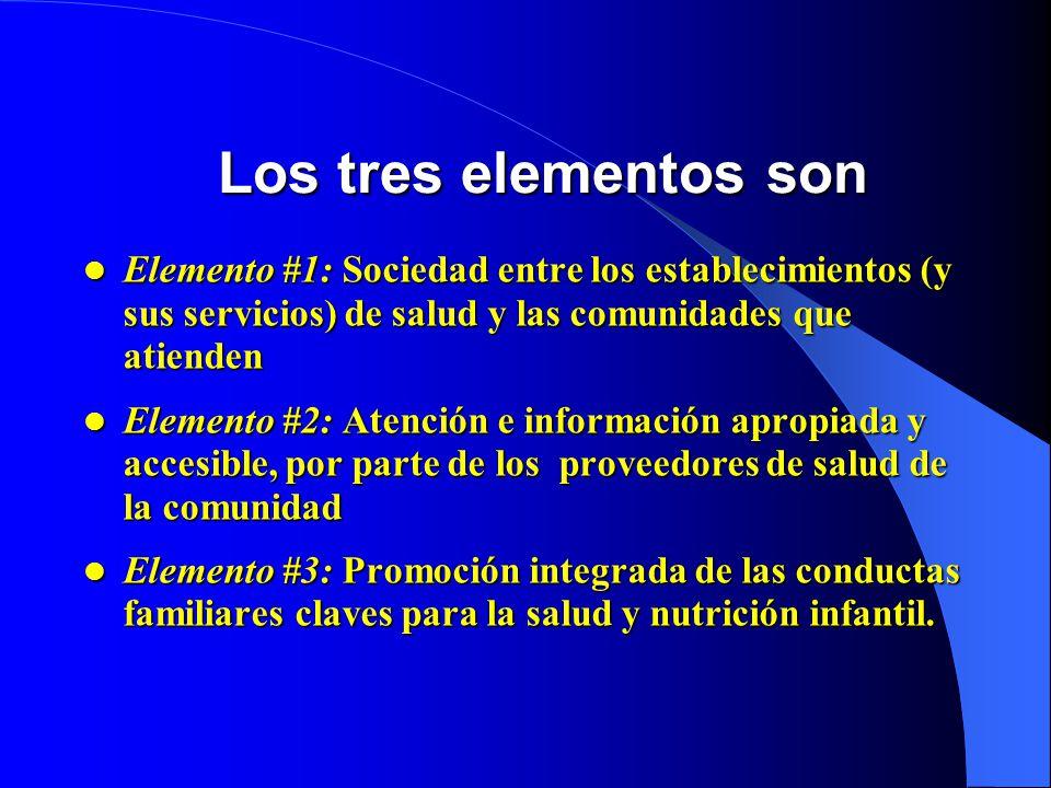 Los tres elementos son Elemento #1: Sociedad entre los establecimientos (y sus servicios) de salud y las comunidades que atienden.