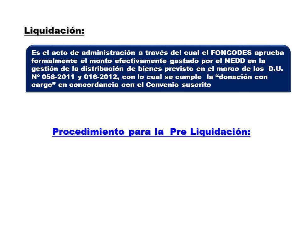 Procedimiento para la Pre Liquidación: