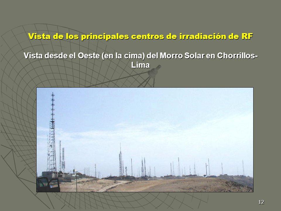 Vista de los principales centros de irradiación de RF