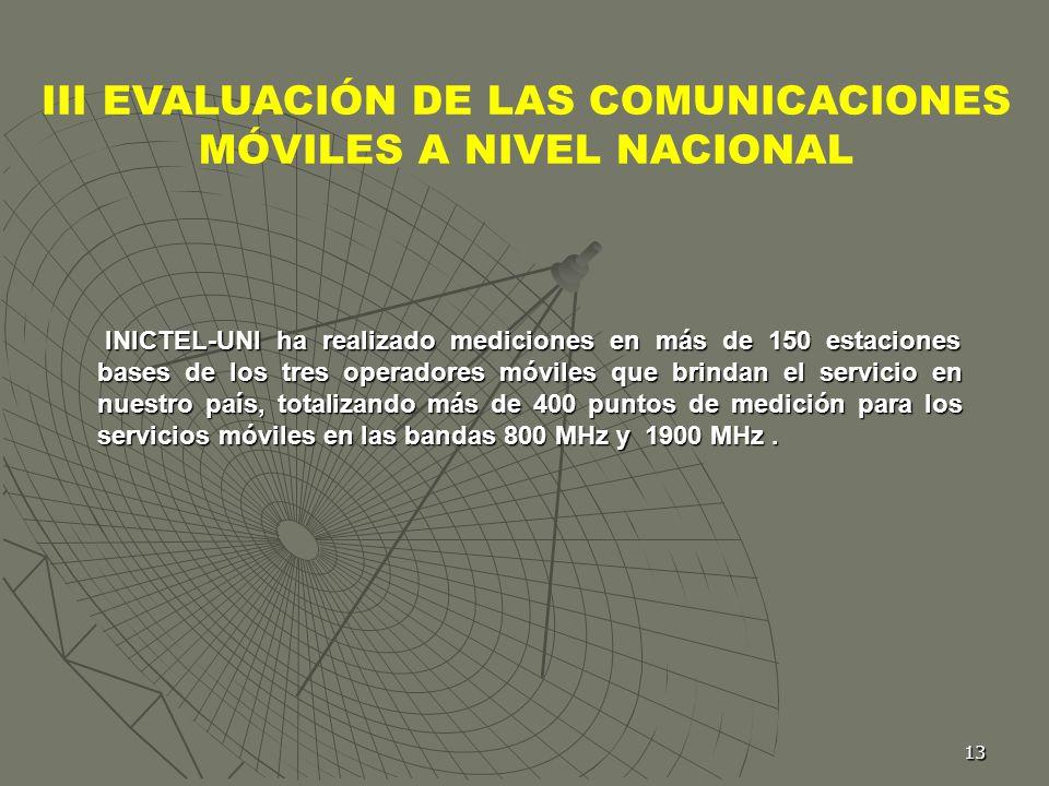 III EVALUACIÓN DE LAS COMUNICACIONES MÓVILES A NIVEL NACIONAL
