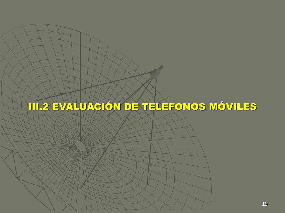 III.2 EVALUACIÓN DE TELEFONOS MÓVILES