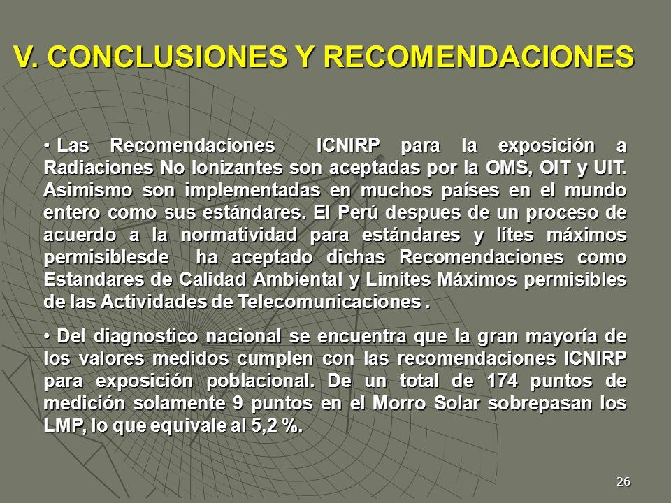 V. CONCLUSIONES Y RECOMENDACIONES