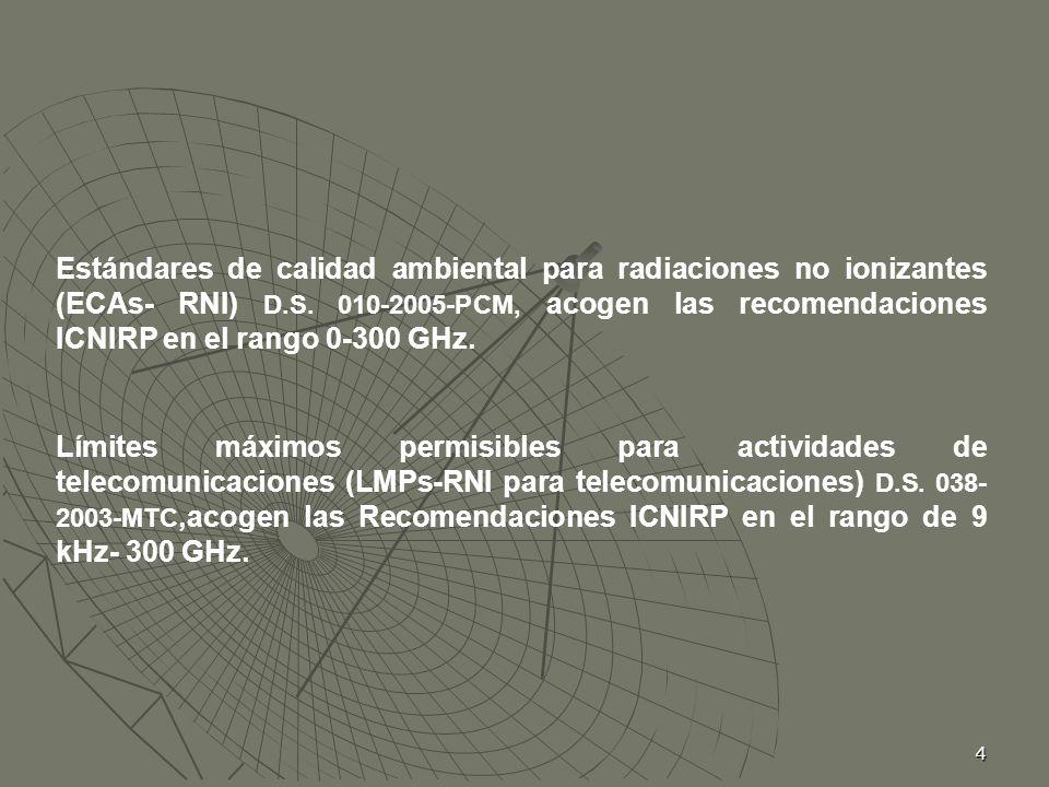 Estándares de calidad ambiental para radiaciones no ionizantes (ECAs- RNI) D.S. 010-2005-PCM, acogen las recomendaciones ICNIRP en el rango 0-300 GHz.