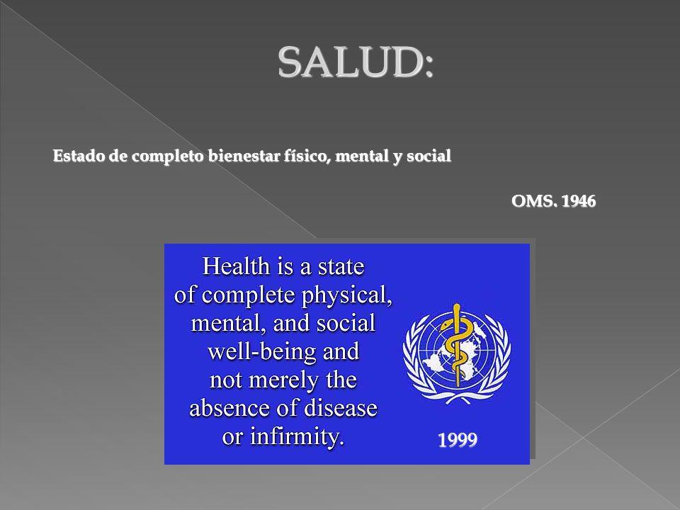 SALUD: 1999 Estado de completo bienestar físico, mental y social