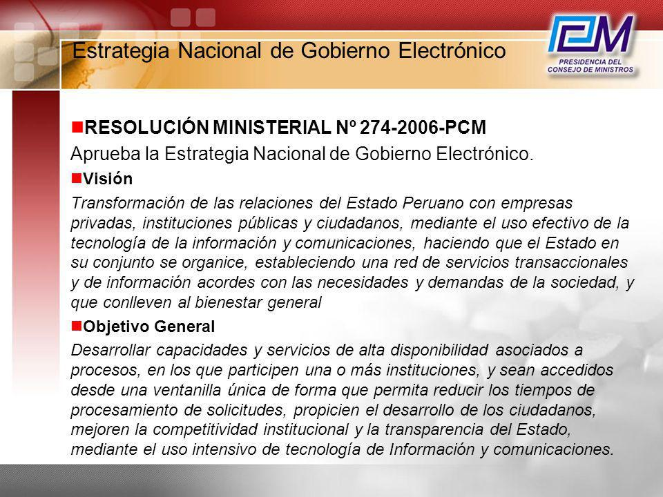 Estrategia Nacional de Gobierno Electrónico