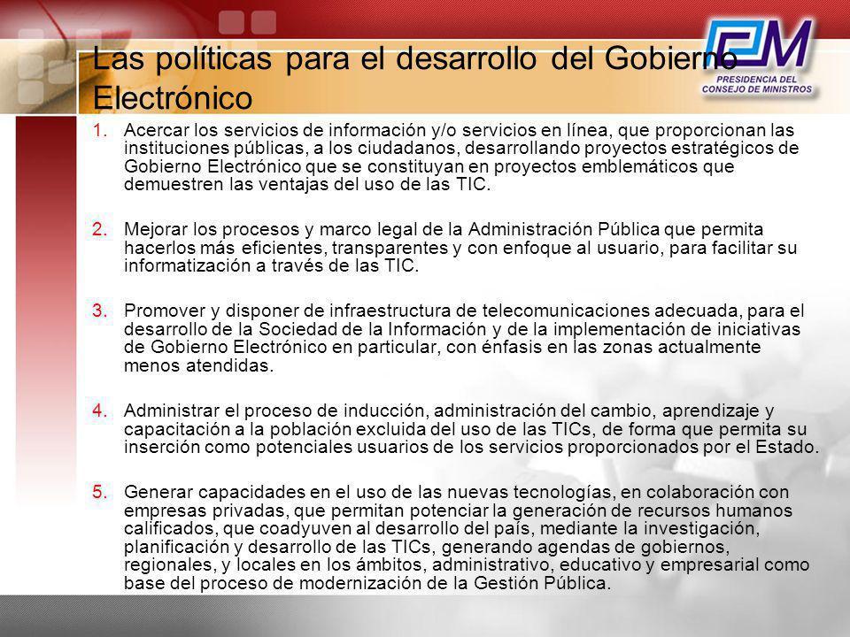 Las políticas para el desarrollo del Gobierno Electrónico