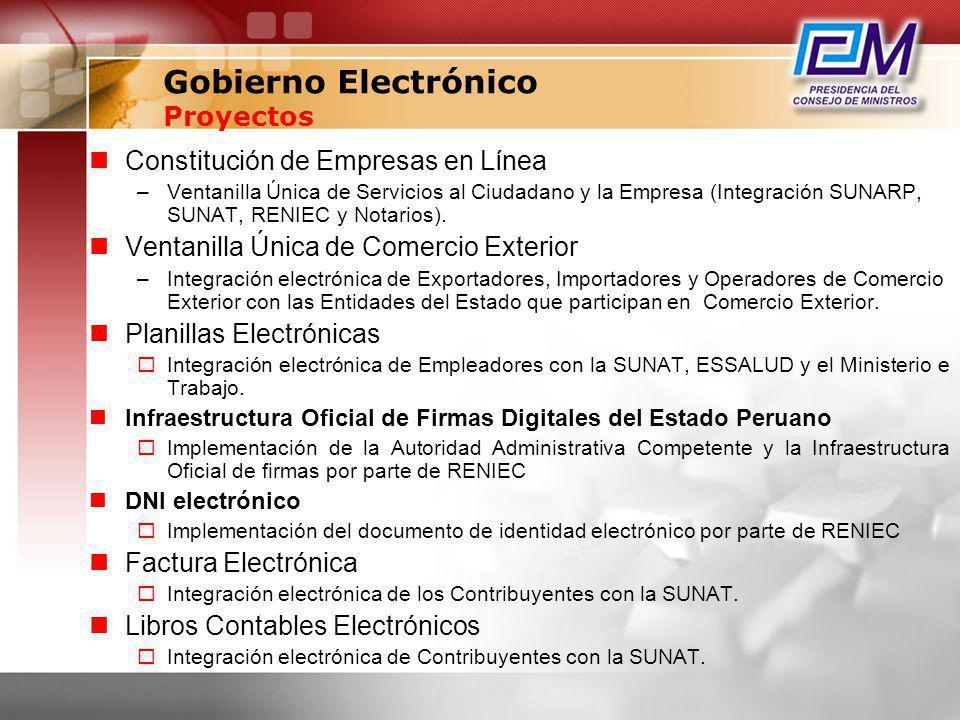 Gobierno Electrónico Proyectos Constitución de Empresas en Línea