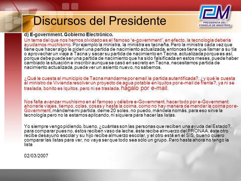 Discursos del Presidente