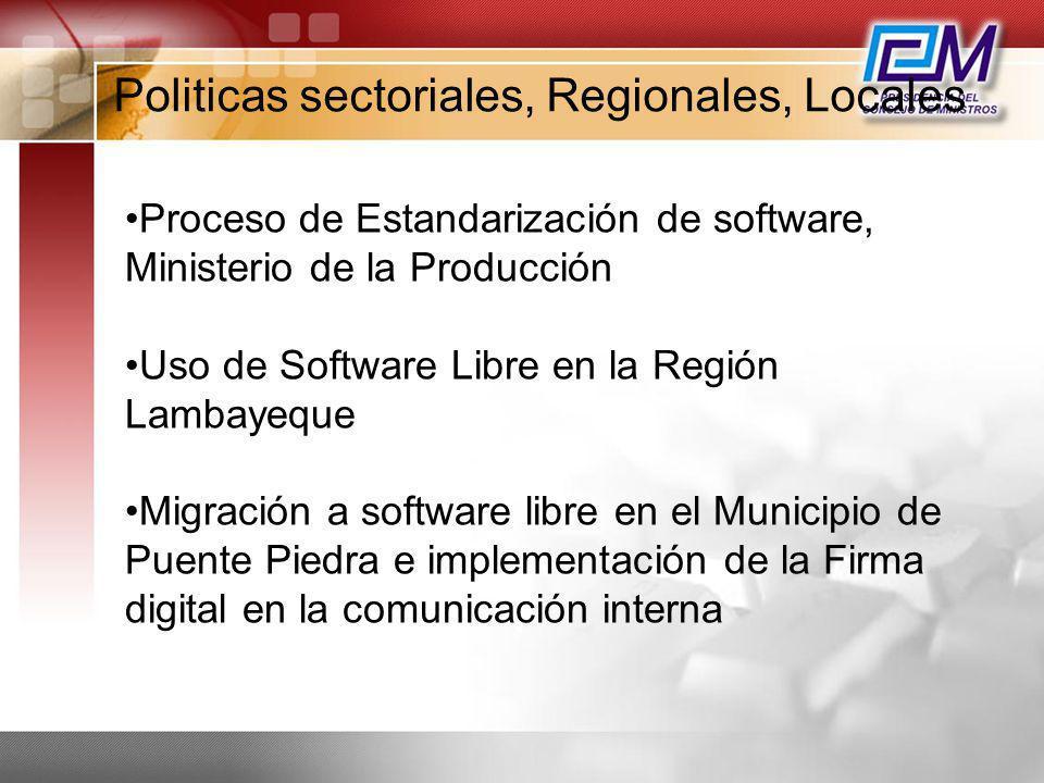 Politicas sectoriales, Regionales, Locales