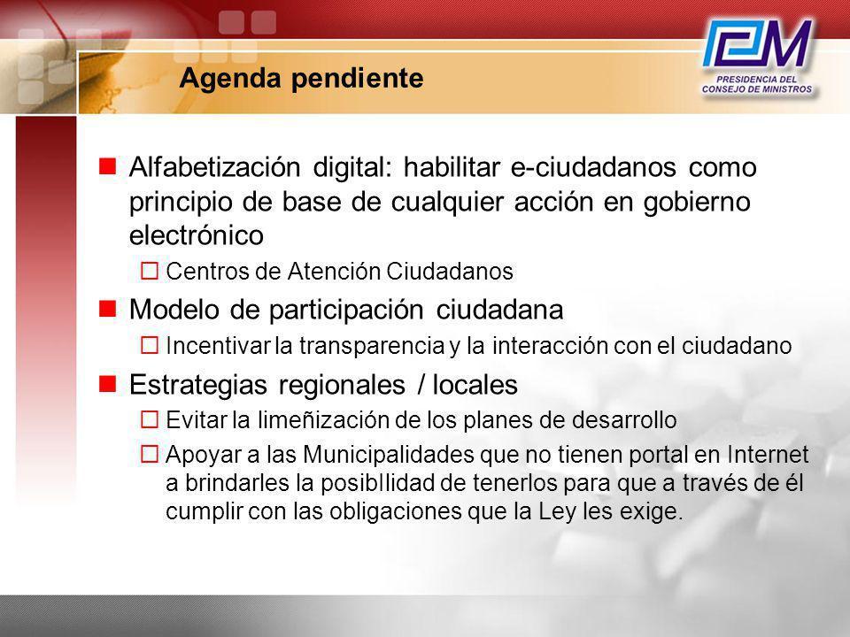 Modelo de participación ciudadana Estrategias regionales / locales