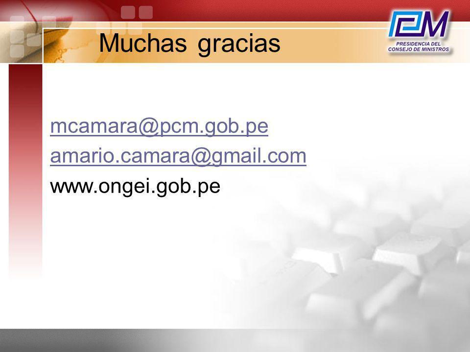 Muchas gracias mcamara@pcm.gob.pe amario.camara@gmail.com
