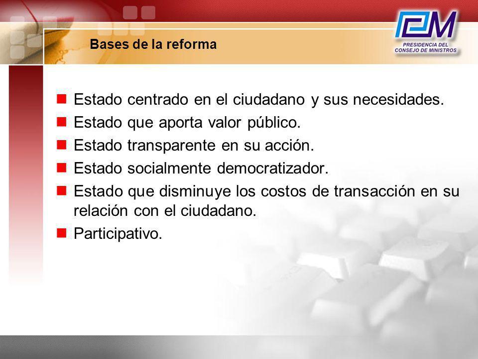 Estado centrado en el ciudadano y sus necesidades.