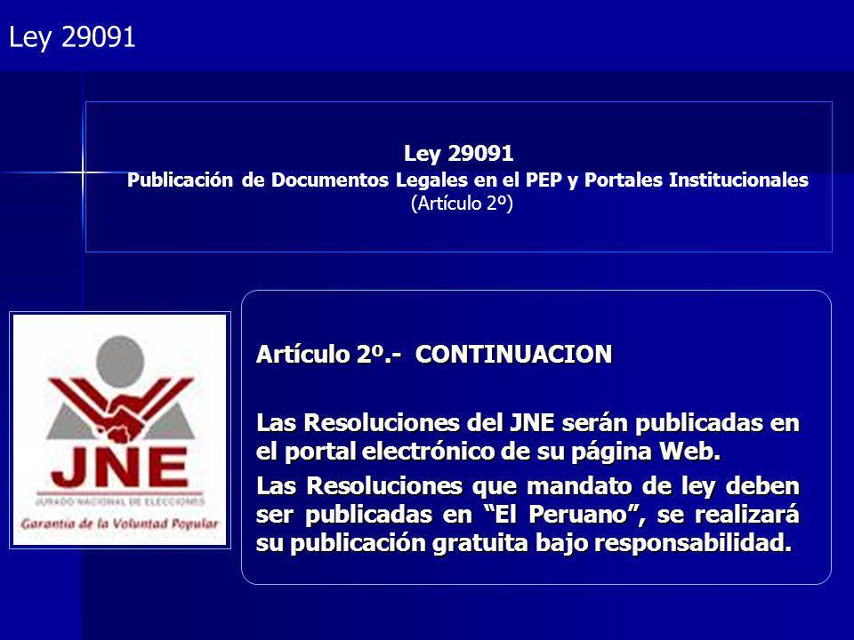 Ley 29091 Artículo 2º.- CONTINUACION