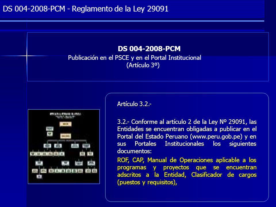 DS 004-2008-PCM - Reglamento de la Ley 29091