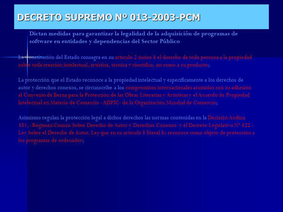 DECRETO SUPREMO Nº 013-2003-PCM