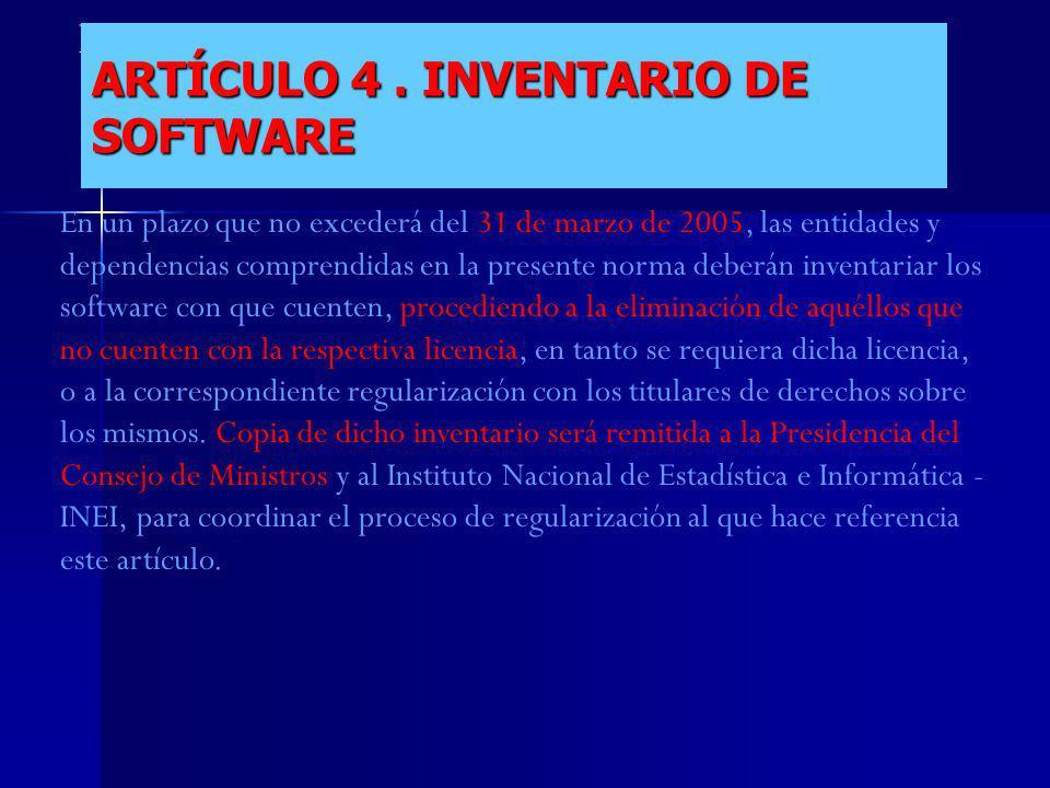 ARTÍCULO 4 . INVENTARIO DE SOFTWARE