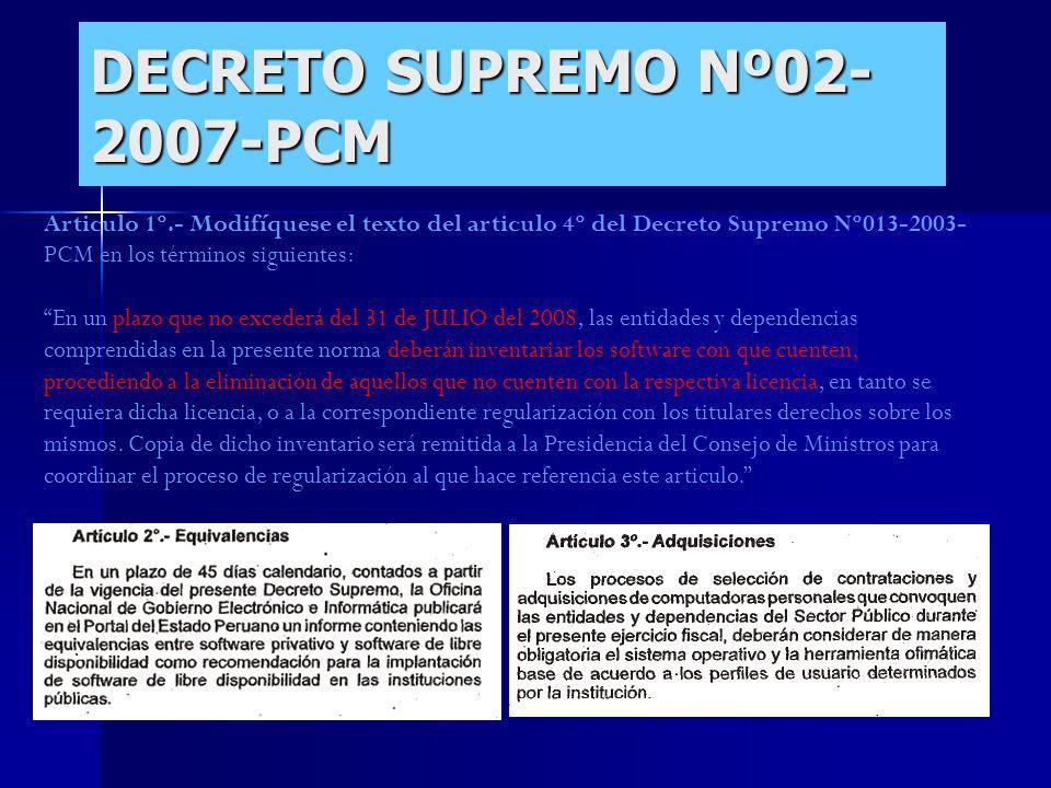 DECRETO SUPREMO Nº02-2007-PCM