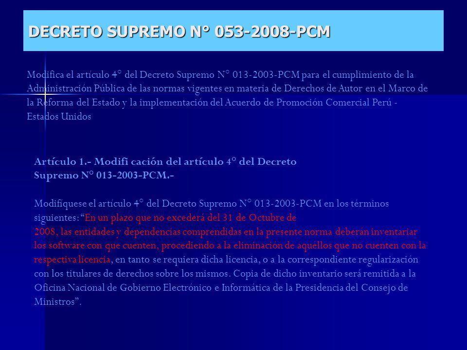 DECRETO SUPREMO N° 053-2008-PCM