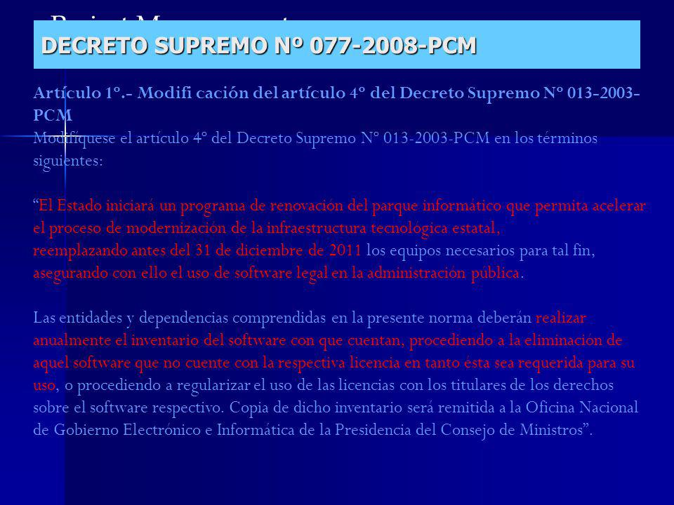 DECRETO SUPREMO Nº 077-2008-PCM